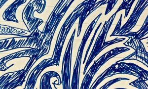 abstract sketch in blue pen